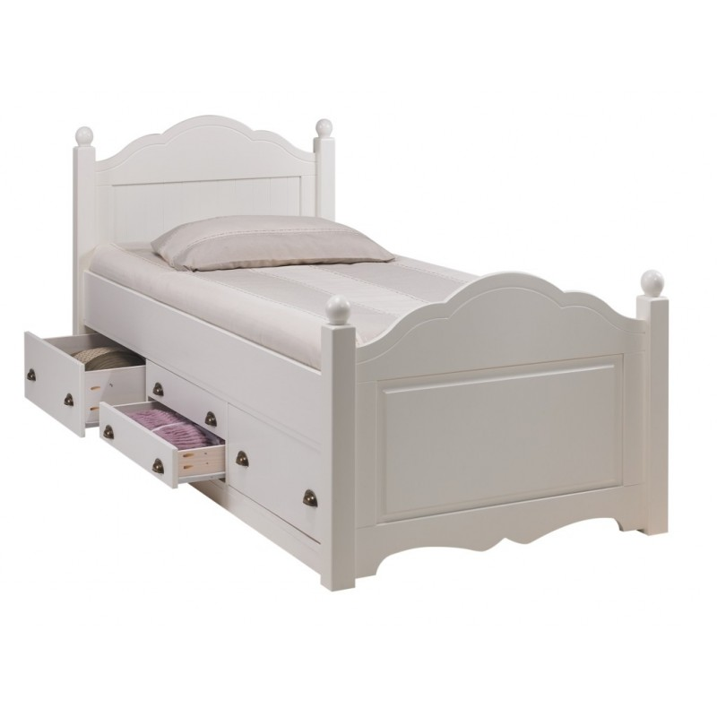 lit enfant blanc 4 tiroirs 90 x 190 cm beaux meubles pas chers. Black Bedroom Furniture Sets. Home Design Ideas