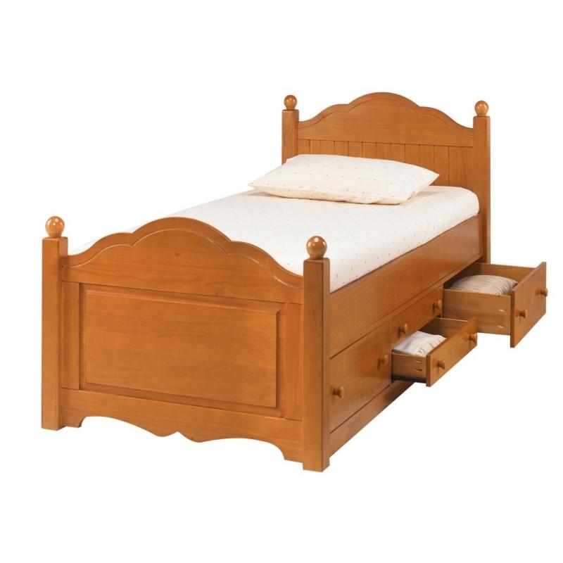 Lit enfant 4 tiroirs pin miel beaux meubles pas chers - Lit 2 places enfant ...