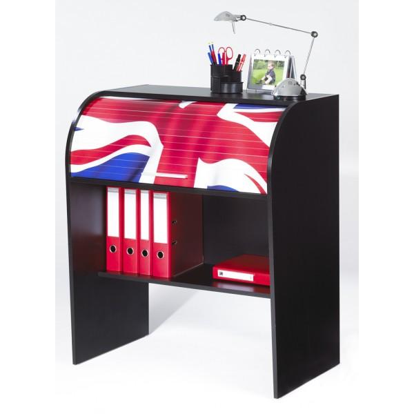 Bureau enfant noir cylindre beaux meubles pas chers - Bureau drapeau anglais ...