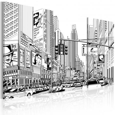Tableau  Comic style en noir et blanc