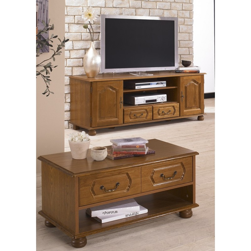 Ensemble meuble tv et table basse ch ne rustique beaux for Meuble table basse