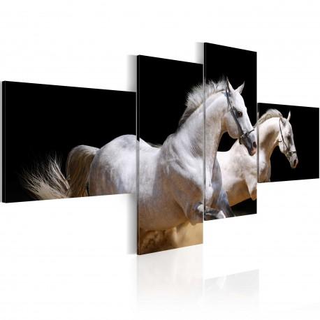 Tableau  Monde des animaux  chevaux au galope