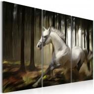 Tableau  Cheval blanc parmis les arbres