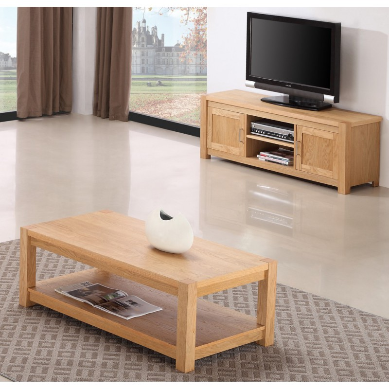 Ensemble table basse meuble tv for Table basse chene clair pas cher