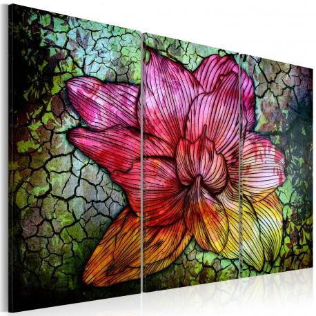 Tableau  Fleur abstraite en couleur arc en ciel