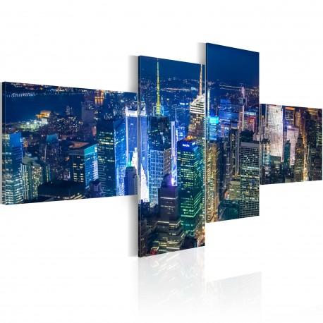 Tableau  New York en couleur indigo