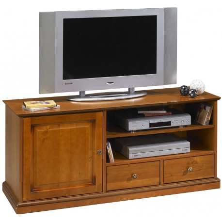 grand meuble banc tv sur roulettes plaqu merisier beaux meubles pas chers. Black Bedroom Furniture Sets. Home Design Ideas