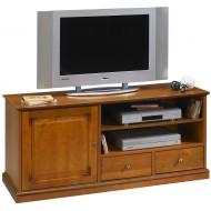 Meuble TV merisier Grand écran 1 Porte 2 tiroirs sur roulettes 6