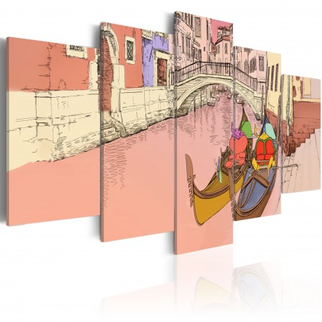 Tableau  Romantic gondolas  5 pieces