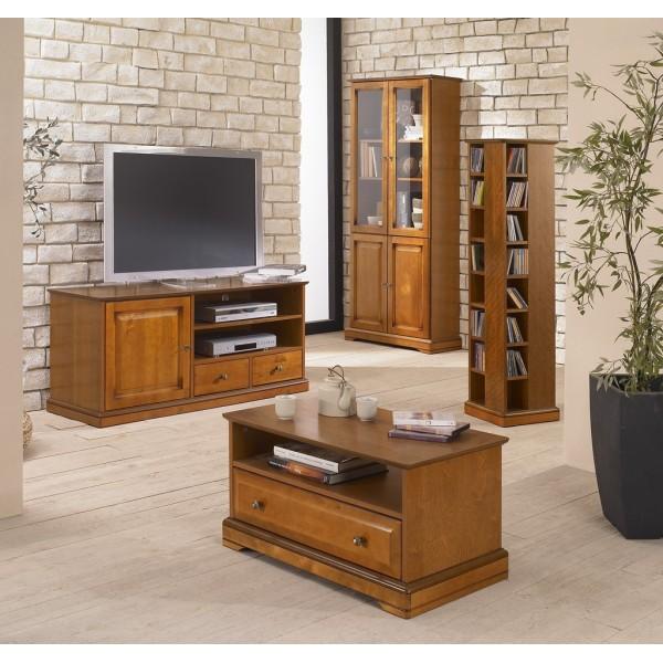 Meuble banc tv plaqu merisier louis philippe beaux - Meuble tv grand ecran ...