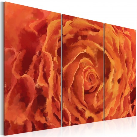 Tableau  Rose en orange  triptyque