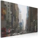 Tableau - Rainy city behind the glass