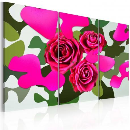 Tableau  Roses au néon  triptyque
