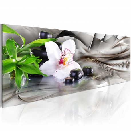 Tableau  Zen composition bamboo, orchid and stones