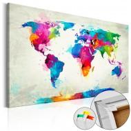 Tableau en liège  An Explosion of Colors [Cork Map]