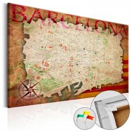 Tableau en liège - Map of Barcelona [Cork Map]