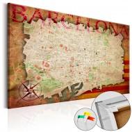 Tableau en liège  Map of Barcelona [Cork Map]