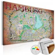 Tableau en liège  Hamburg [Cork Map]
