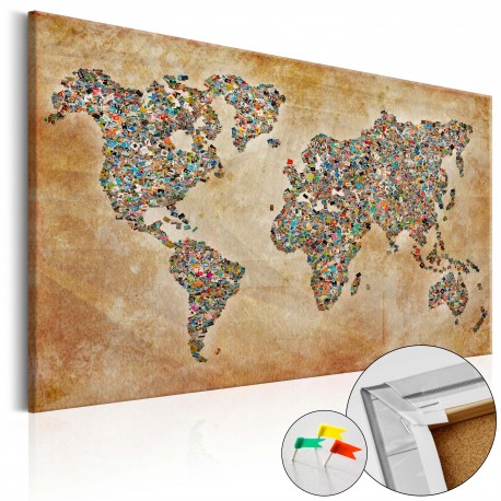 Tableau en liège  Postcards from the World [Cork Map]