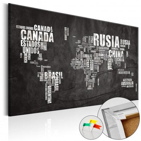 Tableau en liège  Mundo Negro [Cork Map]