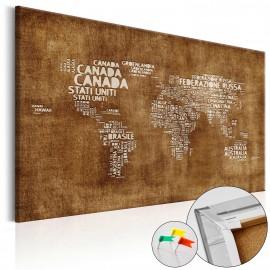 Tableau en liège - The Lost Map [Cork Map - Italian Text]