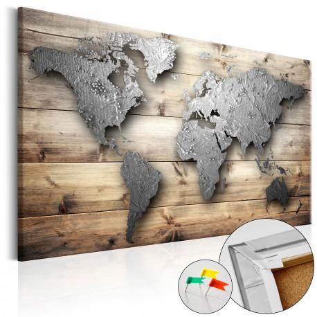 Tableau en liège  Silver World [Cork Map]