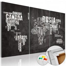 Tableau en liège - El Mundo [Cork Map]