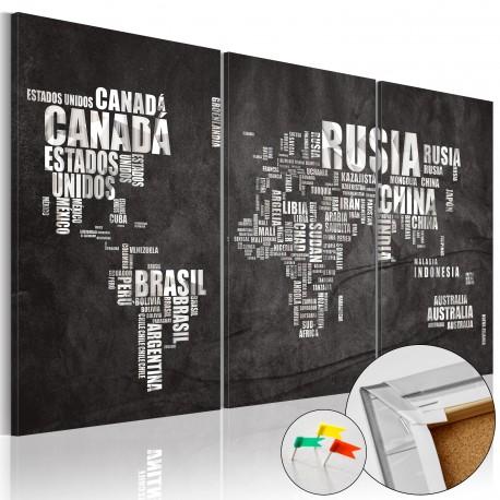 Tableau en liège  El Mundo [Cork Map]
