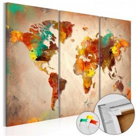 Tableau en liège - Painted World [Cork Map]