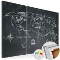Tableau en liège - Travel broadens the mind (triptych) [Cork Map]