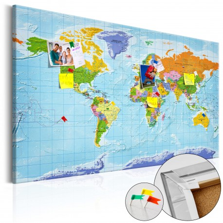 Tableau en liège  World Map Countries Flags [Cork Map]