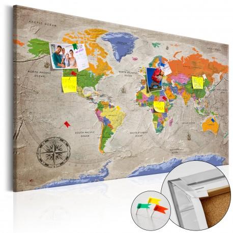 Tableau en liège  World Map Retro Style [Cork Map]