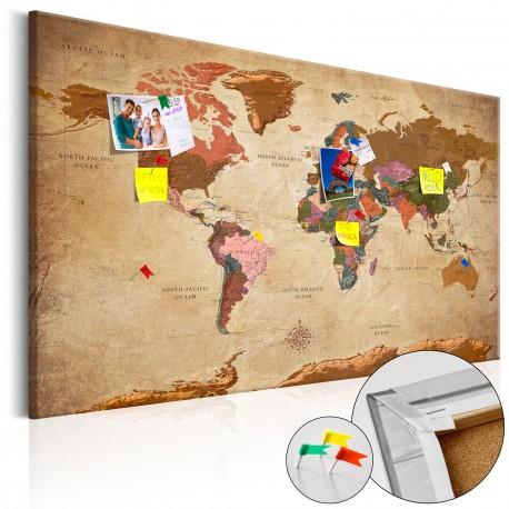 Tableau en liège  World Map Brown Elegance [Cork Map]