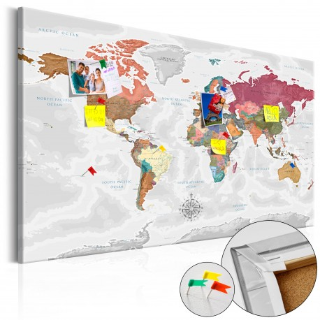 Tableau en liège  Travel Around the World [Cork Map]