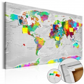 Tableau en liège - Maps: Colourful Finesse [Cork Map]