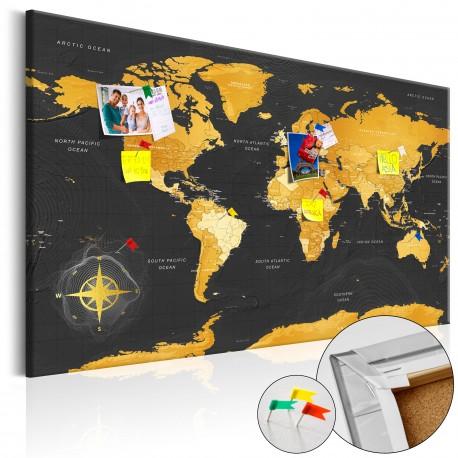 Tableau en liège  Golden World [Cork Map]