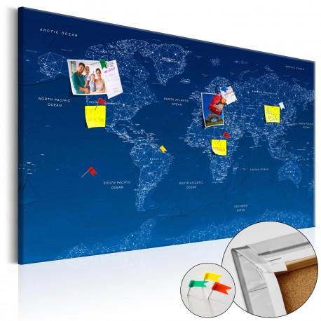 Tableau en liège  World Map World Connection  [Cork Map]