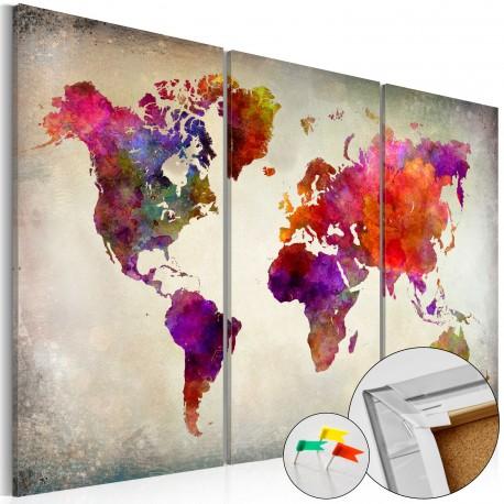 Tableau en liège  Mosaic of Colours [Cork Map]