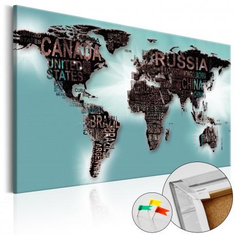 Tableau en liège  Subtlety of the World [Cork Map]