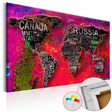 Tableau en liège  Red Earth [Cork Map]