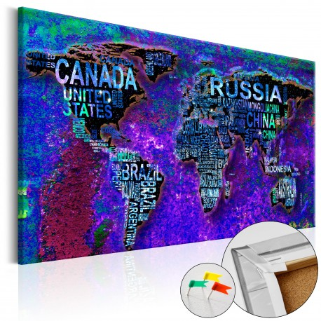 Tableau en liège  Intriguing World [Cork Map]