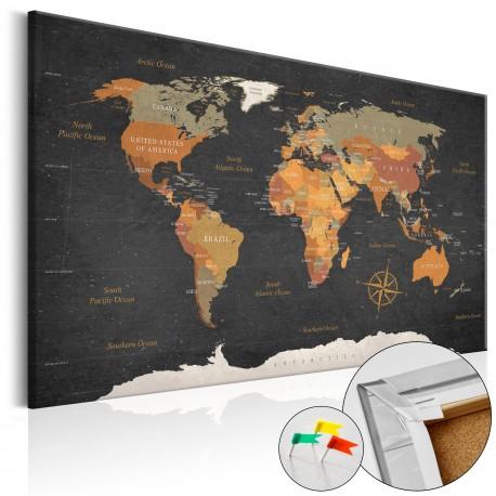 Tableau en liège  Secrets of the Earth [Cork Map]