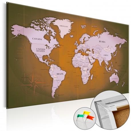 Tableau en liège  Copper Travels [Cork Map]