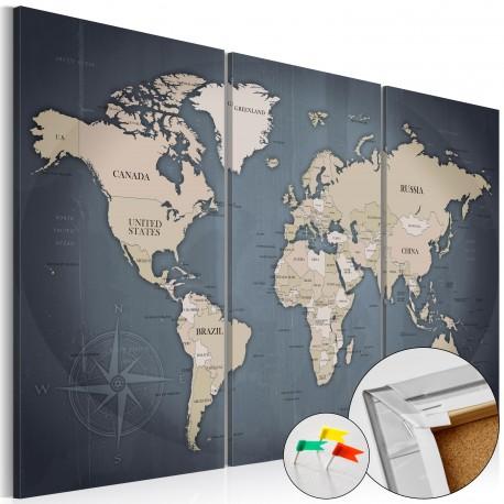 Tableau en liège  Anthracitic World [Cork Map]