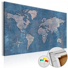 Tableau en liège - Sapphire Planet [Cork Map]