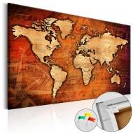 Tableau en liège  Amber World [Cork Map]