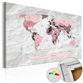 Tableau en liège - Pink Continents [Cork Map]