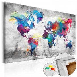 Tableau en liège - World Map: Grey Style [Cork Map]
