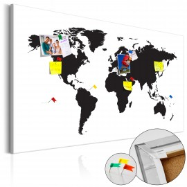 Tableau en liège - World Map: Black & White Elegance [Cork Map]