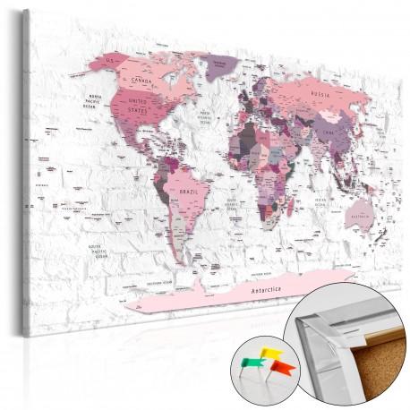 Tableau en liège  Pink Frontiers [Cork Map]